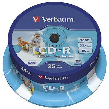 CD-R VERBATIM  PRINTABLE SPINDLE PK25
