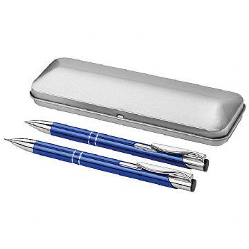 Garnitura olovka kemijska + olovka tehnička u metalnoj kutiji plava