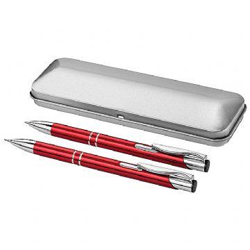 Garnitura olovka kemijska + olovka tehnička u metalnoj kutiji crvena