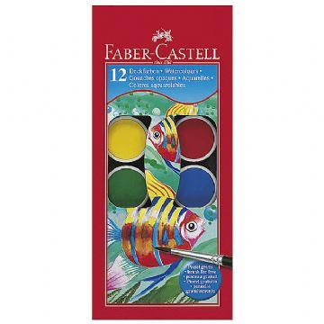 Boja vodena fi 24mm 12boja+kist Faber Castell 125011 blister